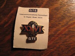 Super-Bowl-XXVI-Pin-Vintage-1992-GTE-General-Telephone-Electric-Football-NFL