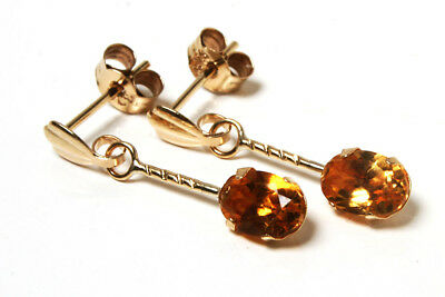 9ct Gold Citrine Pendant Necklace and dangly Earring Set Gift Boxed Made in UK