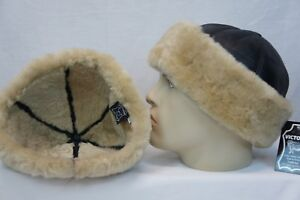100-Sheepskin-Shearling-Leather-Fur-Beanie-Round-Bucket-Hat-BLACK-BEIGE-S-3XL