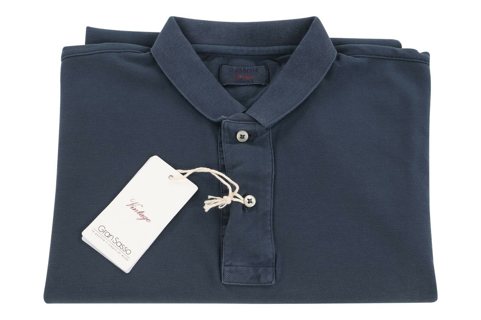 Gran Sasso Vintage 40US 50EU Cotton Short Sleeve Polo Shirt Dark bluee