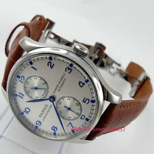 Parnis 43mm power reserve seagull 2542 Automatic mens wristwatch deployant clasp