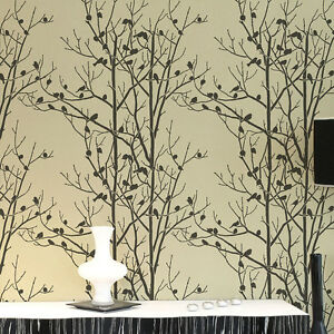 Birds In Trees Allover Wall Stencil - Reusable Wall ...