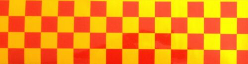 HIGH QUALITY RED//YELLOW CHEQUERED REFLECTIVE TAPE 100MM WIDTH 7 LENGTHS