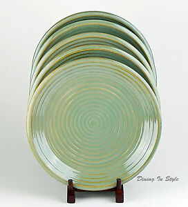 Image is loading RARE-Set-of-2-Dinner-Plates-SUPERB-Infinity- & RARE! Set of 2 Dinner Plates SUPERB! Infinity Green Oneida Casual ...