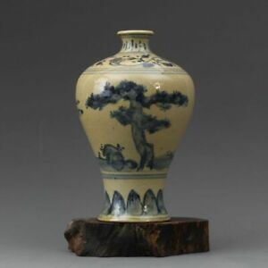 """Marked Chinese ming Blue and white Porcelain Hand painting Pine vase 6.5"""""""