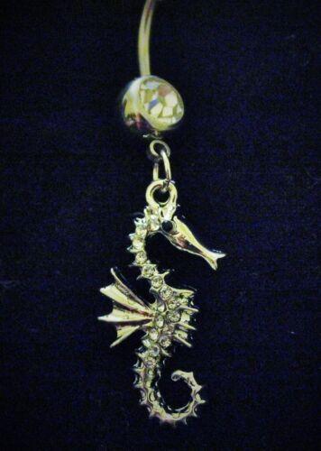 Fancy Seahorse Marine Fish Dangle Belly Gem Navel Body Piercing Jewelry Ring Bar