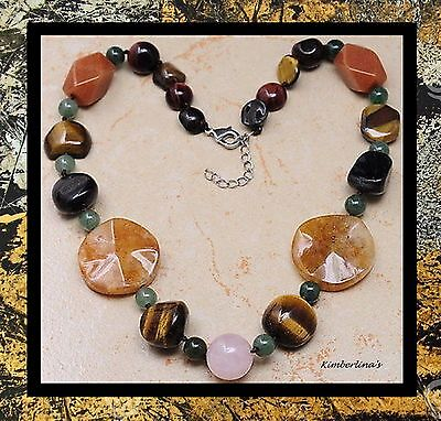 NEW - EARTHY TIGER'S EYE & YELLOW JADE MULTI-STONE STATEMENT NECKLACE