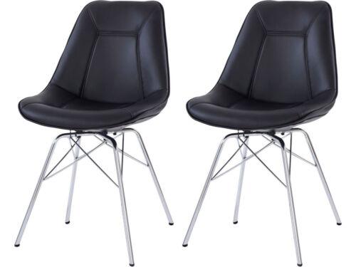 2x Esszimmerstuhl Schalenstuhl Küche Stuhl Kunstleder modern retro weiß schwarz