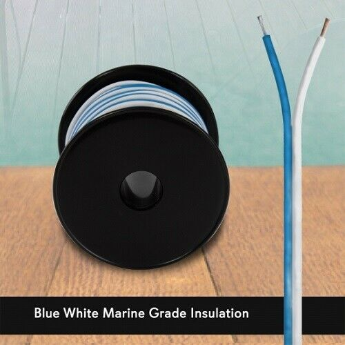 Pyle PLMRSW50 Speaker Wire Marine Grade 50ft 18 Gauge Blue//White BRAND NEW