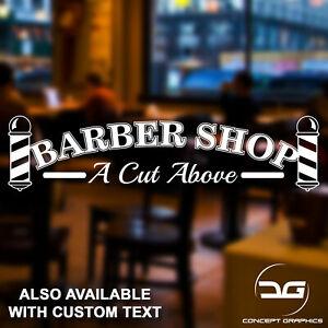 65d07d57bda2 Barber Shop A Cut Above Hair Salon Window Wall Door Vinyl Decal ...