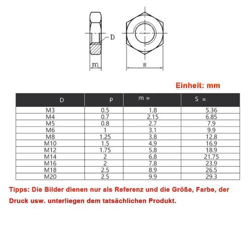Sechskantmutter Edelstahl A2 V2A DIN 439 niedrige Feingewinde Mutter M6 bis M20