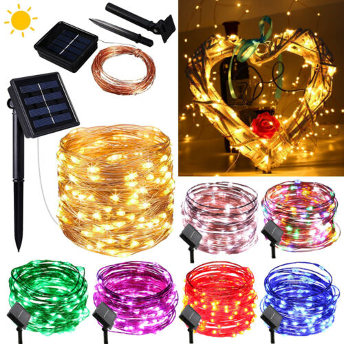 10//20M Outdoor Solar Power 100 200 LED Copper Wire Light String Fairy Xmas Party
