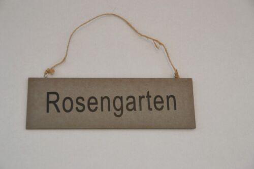 """Holzschild Dekoschild Wandschild aus Holz braun mit Aufschrift /""""Rosengarten/"""""""