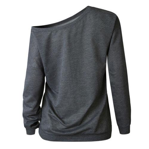 Damen Schulterfrei Sweater Langarm Lose Baggy Freizeit Sweatshirts T-shirt Top