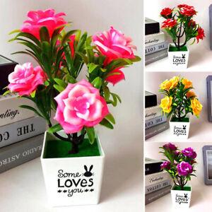 Kuenstlich-Falsche-Mini-Bonsai-Rose-Blume-in-Vase-Topf-Buerohaus-Zimmer-Tisch-Deko