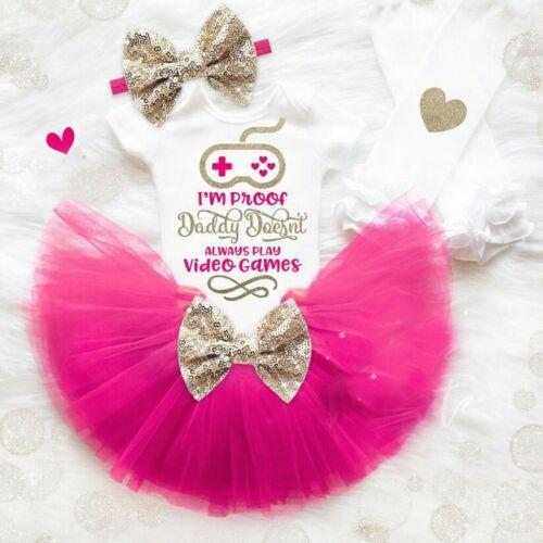 Newborn Baby Girl Short Sleeve Letter Romper Jumpsuit+Tutu Skirt+Headband Outfit