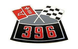 67 68 69 70 Camaro 396 Cross Flags Air Cleaner Decal  GM# 3902410