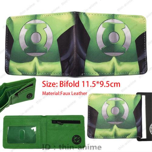 DC Comics Green Lantern Portefeuille hommes deux volets en cuir couleur vert sac à main TV autour