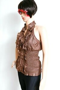 Arden-B-Brown-Ruffle-Halter-Blouse-Sleeveless-Fitted-Size-S-Gold-Studs