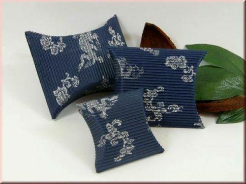 azul-plata * 1 caja de regalo 60x55mm joyas estuche