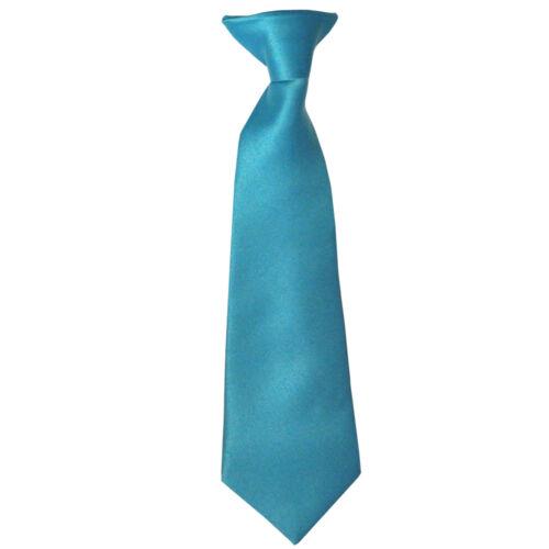 New Vesuvio Napoli Kid/'s Boy/'s Clip On Pre-tied Necktie size 14 Aqua Blue Party