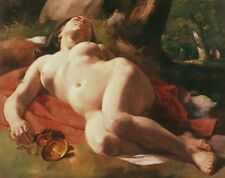 Oil painting naked Drunken woman sleeping in landscape under the tree Hand paint