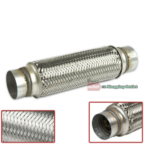 "2.5/"" x 12/"" Double Braid Stainless Steel 9.125/"" Flex Pipe Piping Joint Adapter"