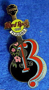 Tijuana-Messico-13TH-Anniversario-Girevole-Logo-Nero-Chitarra-Hard-Rock-Cafe-Pin