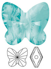 ONE SWAROVSKI CRYSTAL BUTTERFLY BEAD / PENDANT 5754, LIGHT TURQUOISE, 10  MM