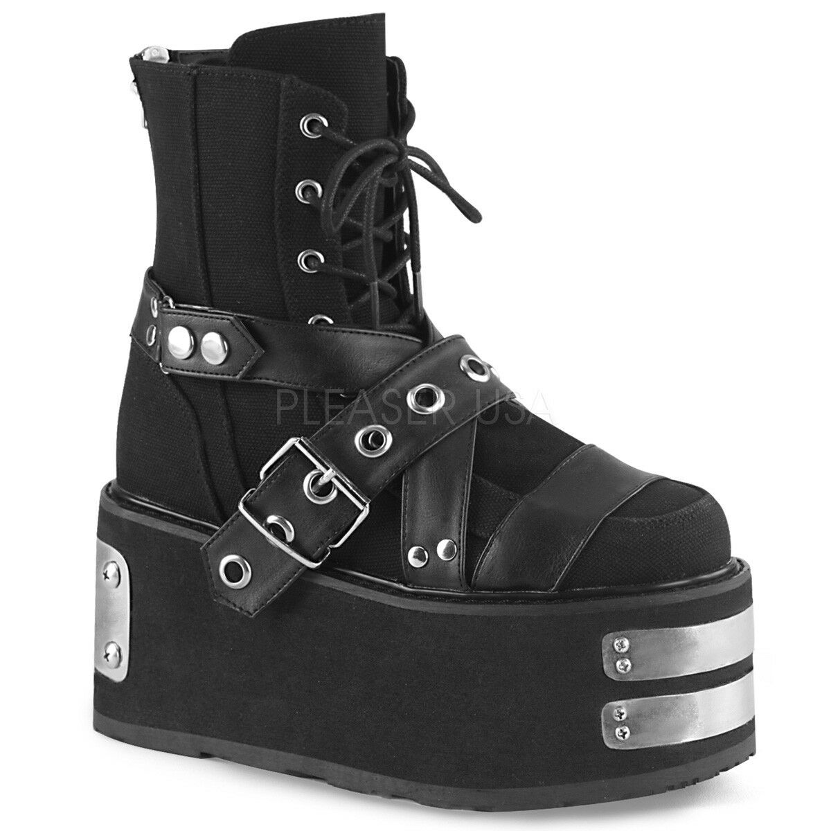 Demonia DAMNED-116 Womens Womens Womens Black Canvas Vegan Leather Platform Lace-Up Ankle Boot d1e900