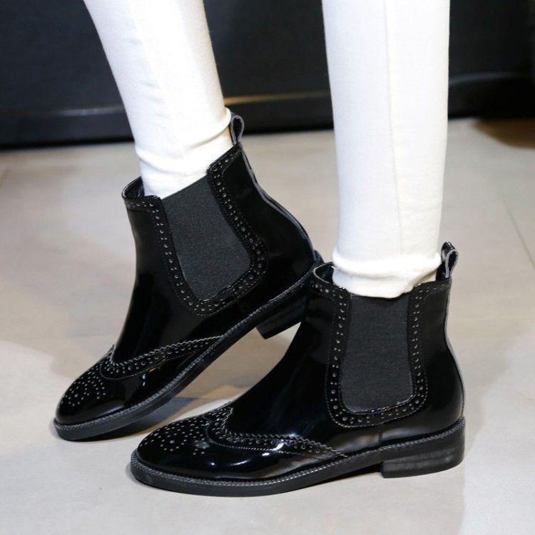 Lady Charol Negro Wing Tip Tirar Tirar Tirar De Tacón Bajo Chelsea botas Botín Talla  venta con descuento