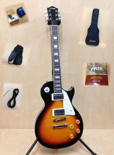 4/4 Haze SEG-277BS Solid Body Les Paul Guitar - Sunburst + Gig Bag + Strings