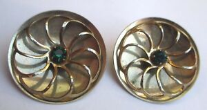Bijou Vintage Rare Boucles D'oreilles Clip Couleur Or Cristal Vert émeraude 3267 Exquis (En) Finition