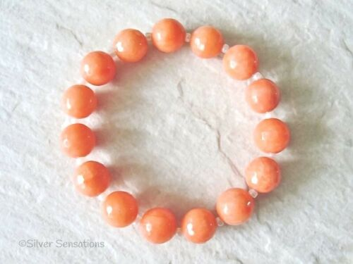 Chunky facettes Peach Orange Jade Perles Stretch Fashion Bracelet