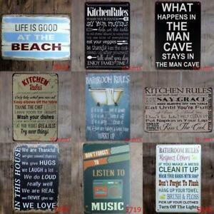 Metal-Tin-Bath-kitchen-rules-Men-Wall-Home-Art-Retro-Decor-Bed-Room-Sign-Poster