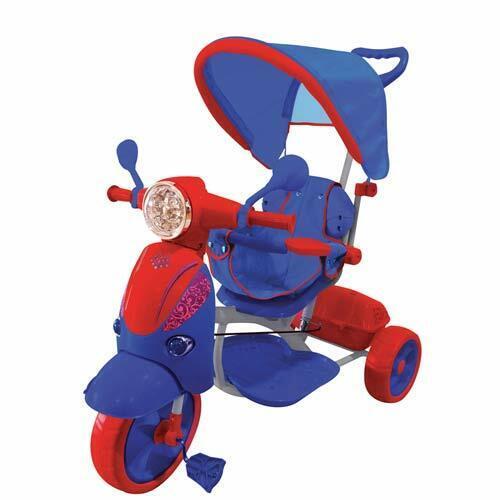 Triciclo passeggino Vespa scooter rosso pedali per bambino con parasole e suoni