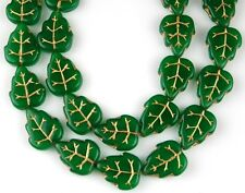 25 PCS Czech Leaf Opaque Green Gold Inlay Pressed Loose Glass Beads 10x12mm