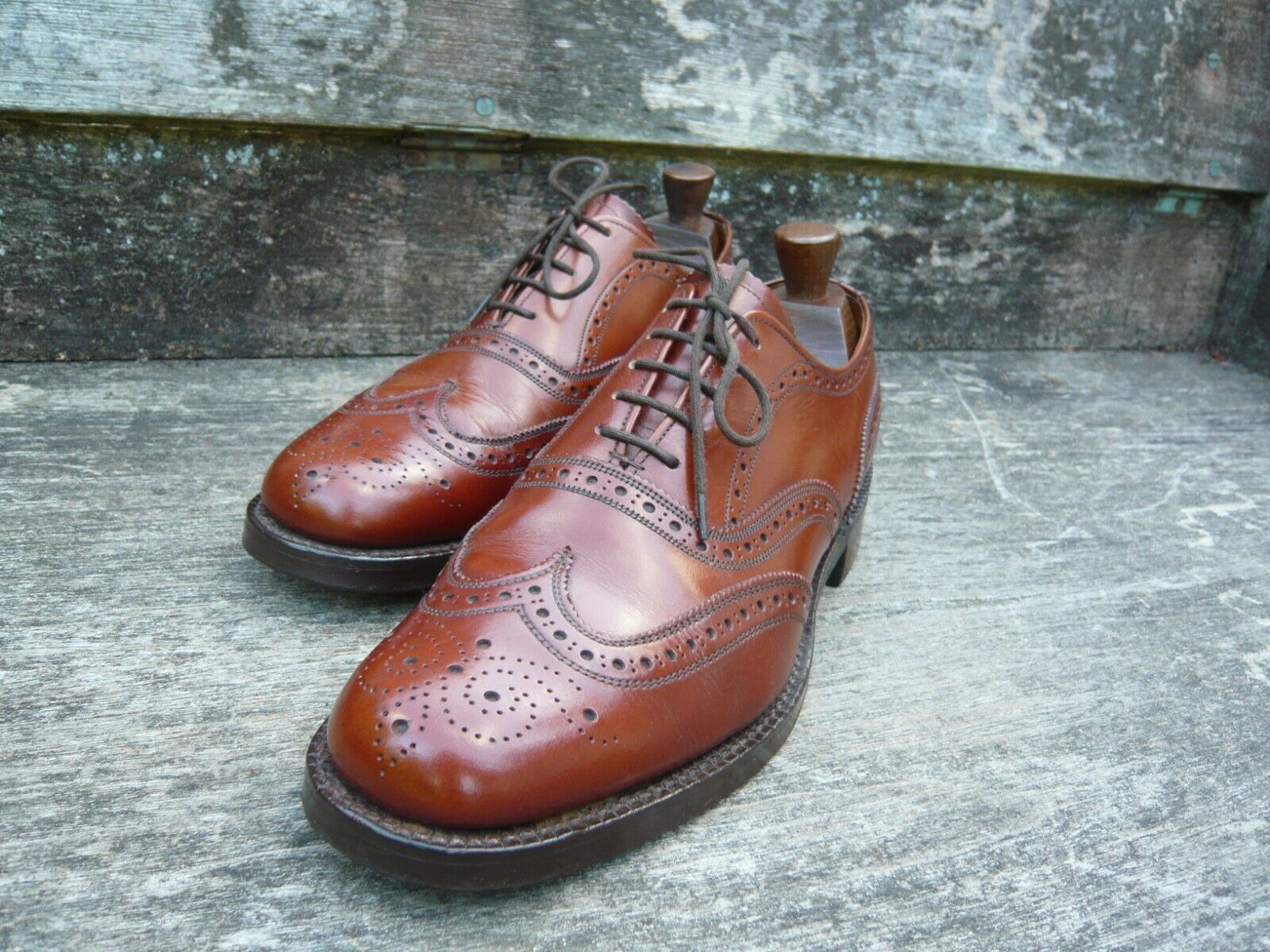 Cheaney Vintage Cuero Calado Para Hombres Zapatos – café bronceado – – Avon-Excelnt COND