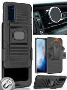 Black-Rugged-Case-with-Belt-Clip-and-Magnetic-Car-Mount-for-Samsung-Galaxy-S20