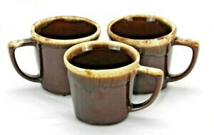 McCoy-Mugs-Set-of-3-Coffee-Cup-Mugs-EUC-Brown-Drip-Glaze-Pottery