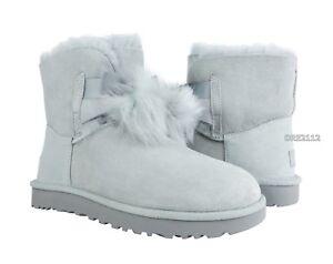 14421f25a0b Details about UGG Gita Grey Violet Suede Fur Pom Pom Boots Womens Size 10  *NIB*