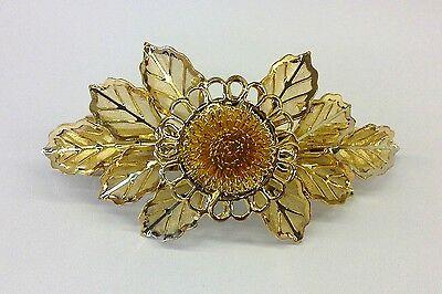 6x HAARSPANGE Blume 10cm Spangen Haarschmuck gold farben