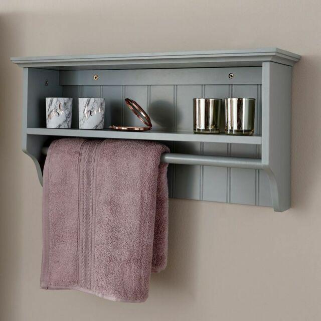Bathroom Towel Rail Shelf Storage Unit Colonial Grey Bath Shower Towels Rails