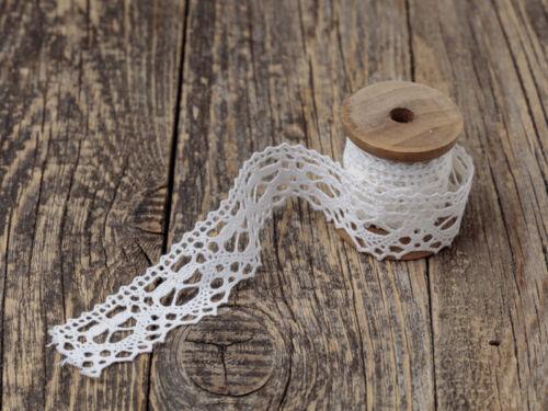 Vintage Spitzenband Borte ohne Spule und Deko Klöppelspitze 100/% Baumwolle
