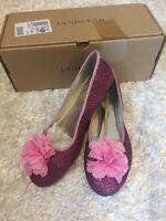 Lands' End Girls Flower Ballet Shoes Primrose Sparkle Pink Size 5 In Box