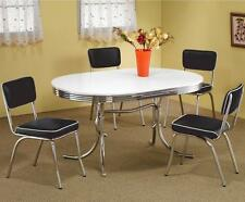 Retro 1950's Oval Dining Table and Black Chair 5 Piece Set by Coaster 2065-2066