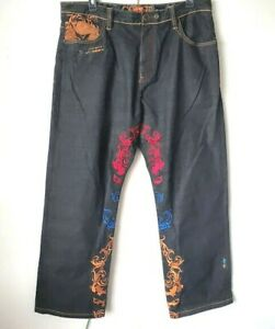 ROYALE-COOGI-VTG-Jeans-40x34-GOLD-RED-BLUE-Embroidery-Men-039-s-Loose-Hip-Hop-NWOT