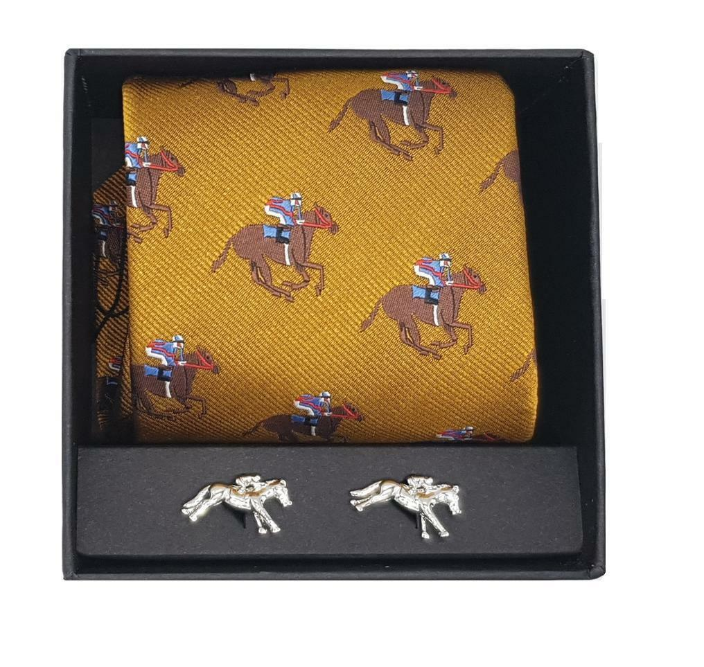 Horse racing tie & cufflinks in a gift box Choose gold, green or bluee tie. Ascot