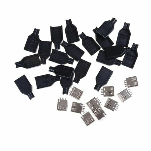USB Adapter Female 4-Pin Type A Plug DIY with Plastic Cover USB Connector 10Pcs