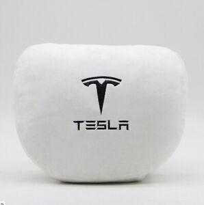 Soft Tesla Logo Print Car Seat Neck Pillow Headrest For ...